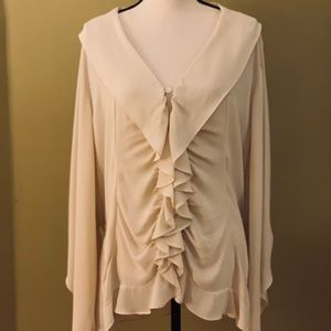 Boston Proper Ruffled Blouse w/Peek-a-Boo Sleeves